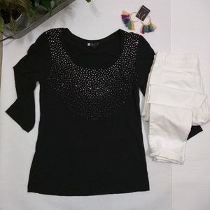 Carole Little 3/4 sleeve black top sparkles Large